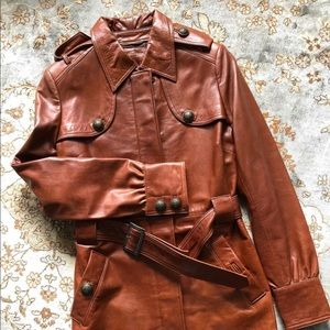 Brown Pleather belted coat